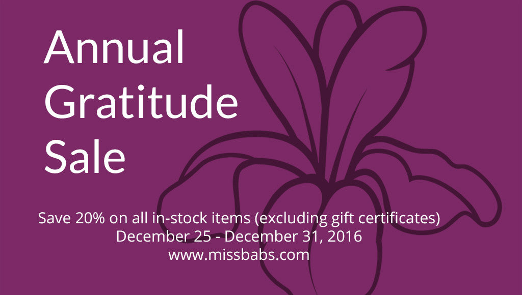 The Annual Gratitude Sale - Why and How of It