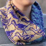 a cowl knit in two colors with an all-over colorwork design of various types of sea birds
