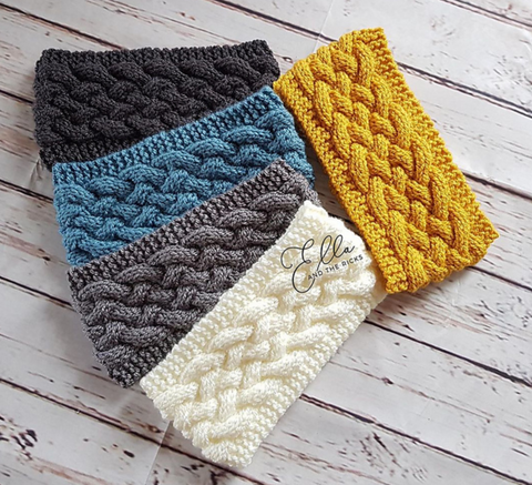 five cabled headbands in various colors