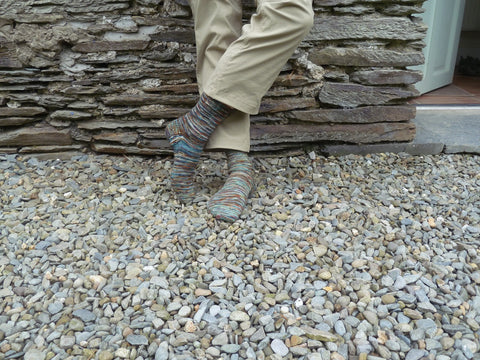 Sock Modeling outside Welsh Cottage