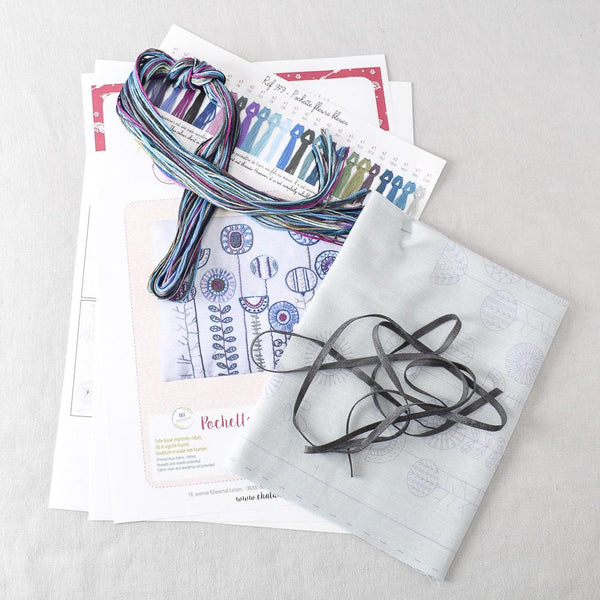 Blue Flower Tied Pouch (pochette fleurs bleues) Embroidery Kit - Miss Babs Notions