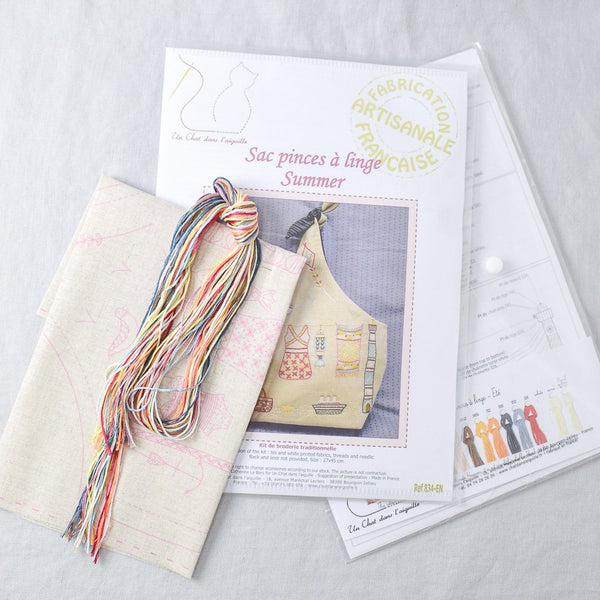 Un Chat Embroidery Kit: Tie Top Bag, Summer - Miss Babs Notions