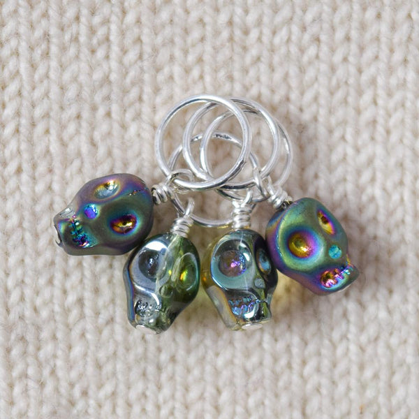 Crystal Skull Green - Miss Babs Stitch Markers