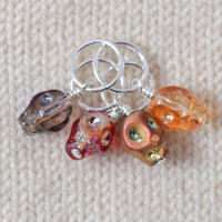 Crystal Skull Orange - Miss Babs Stitch Markers