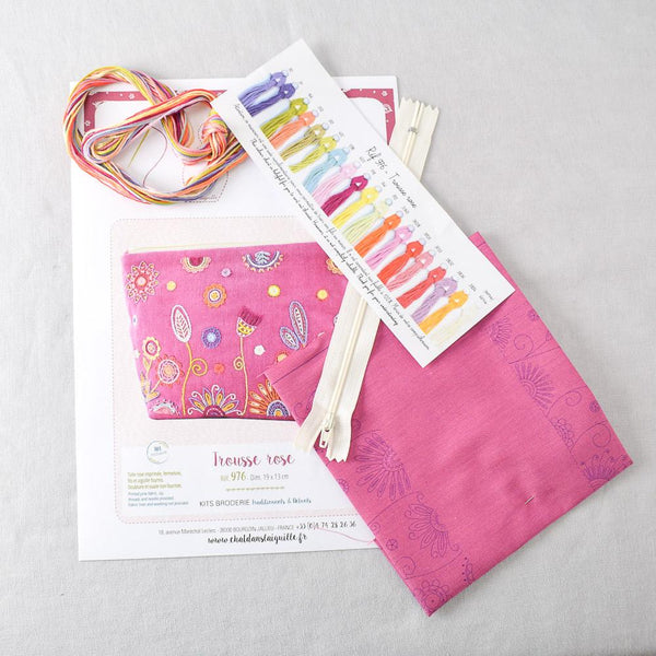 Floral Pouch (trousse) Embroidery Kit Rose - Miss Babs Notions