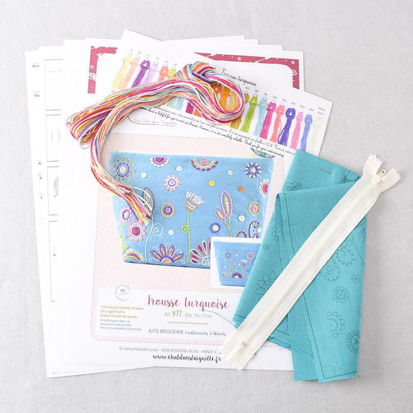 Floral Pouch (trousse) Embroidery Kit Turquoise - Miss Babs Notions