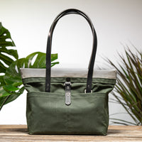 Forest Green Bag No. 3 with Black Leather - The Everywhere Bag