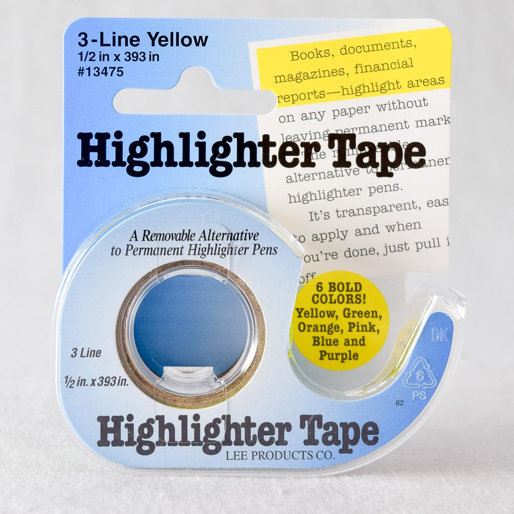 LEE PRODUCTS COMPANY REMOVABLE HIGHLIGHTER TAPE YELLOW Set of 3