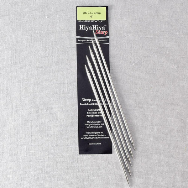 "HiyaHiya 6"" Sharp Steel Double-Pointed Needles"