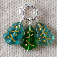 Light Blue and Green Christmas Tree Stitch Markers - Miss Babs Stitch Markers