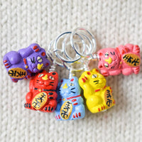 Maneki-neko Stitch Markers Bright - Miss Babs Stitch Markers