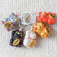 Maneki-neko Stitch Markers Light - Miss Babs Stitch Markers