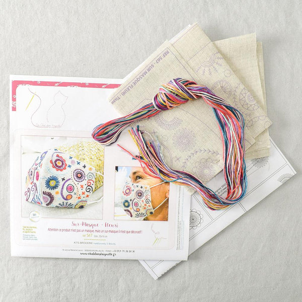 Mask Embroidery Kit - Flowery - Miss Babs Notions