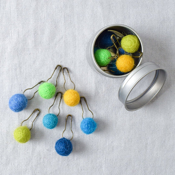 Pom Pom Stitch Markers Indigo Blue and Ochre - Miss Babs Stitch Markers