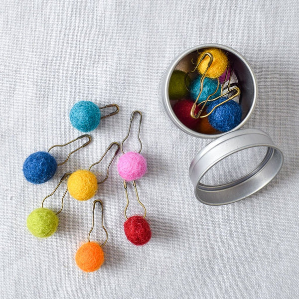 Pom Pom Stitch Markers Assorted Colors - Miss Babs Stitch Markers