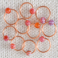 Red Crackle Agate Stitch Markers - Miss Babs Sttich Markers