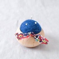 Turned Wood Pin Cushion Blue - Miss Babs Notions