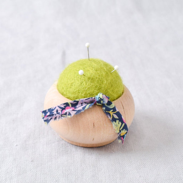 Turned Wood Pin Cushion Green - Miss Babs Notions
