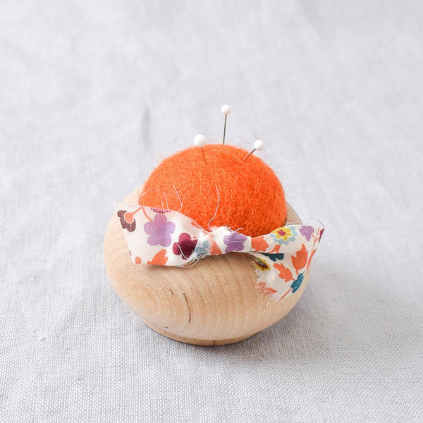 Turned Wood Pin Cushion Orange - Miss Babs Notions