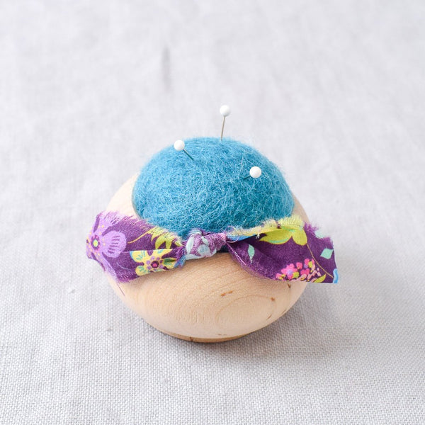 Turned Wood Pin Cushion Turquoise - Miss Babs Notions