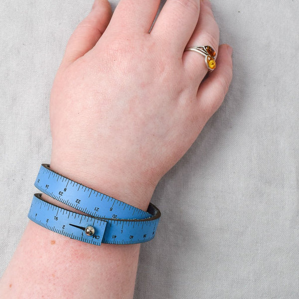 Leather Wrist Ruler - Blue