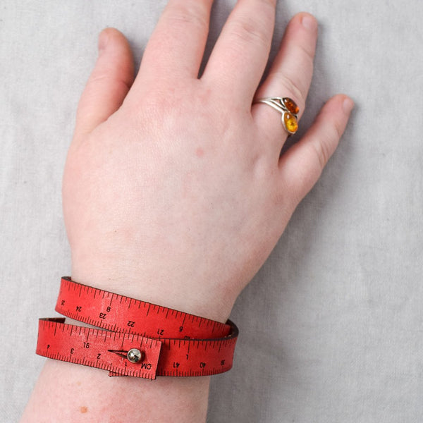 Leather Wrist Ruler - Red