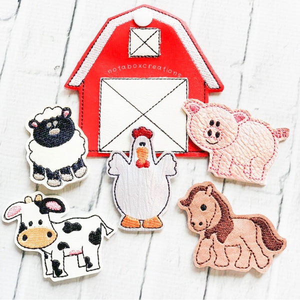 Old McDonald Farm Animal Finger Puppets W/ Red Barn Case