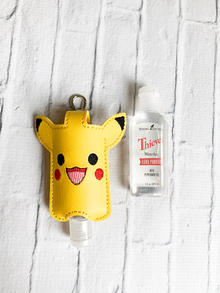 Yellow Alien Cartoon Character Thieves Hand Sanitizer Keychain Case