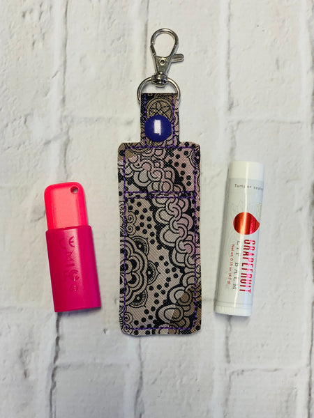 Purple Gray Damask Young Living Essential Oils Lip Balm USB Keychain Case