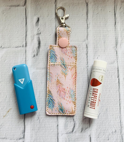 Spring Fling Feathers Young Living Essential Oils Lip Balm USB Keychain Case