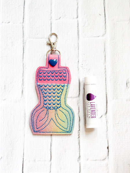 Rainbow Glitter Mermaid Scales Young Living Essential Oils Lip Balm Keychain Case