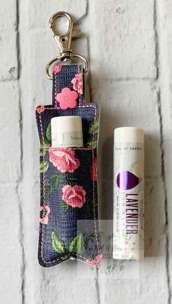 Pink Floral Denim Print Young Living Lip Balm Keychain Case