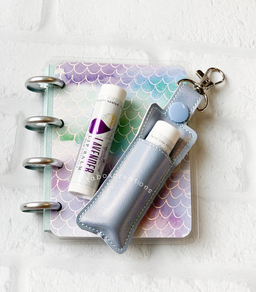 Metallic Ice Blue Young Living Essential Oils Lip Balm Keychain Case