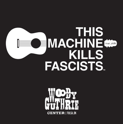 This Machine Kills Fascists Black Square Sticker