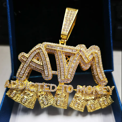 "Iced ATM ""Addicted to Money"" Pendant in Gold"