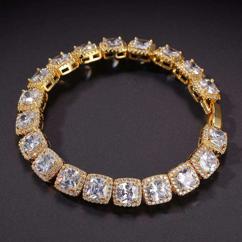 10mm 18K Gold Finish Iced Baguette Bracelet
