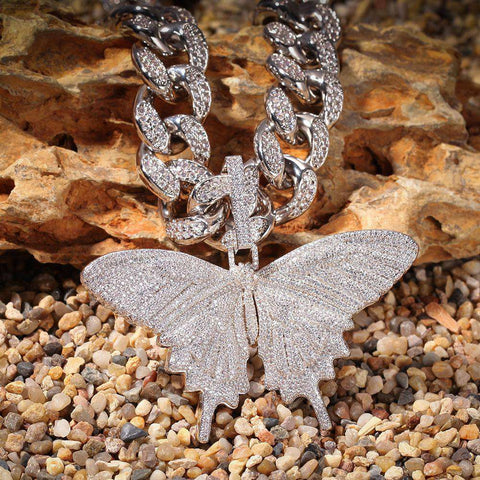 "18"" 13mm 18K White Gold Iced Cuban Chain and Butterfly Pendant Set"