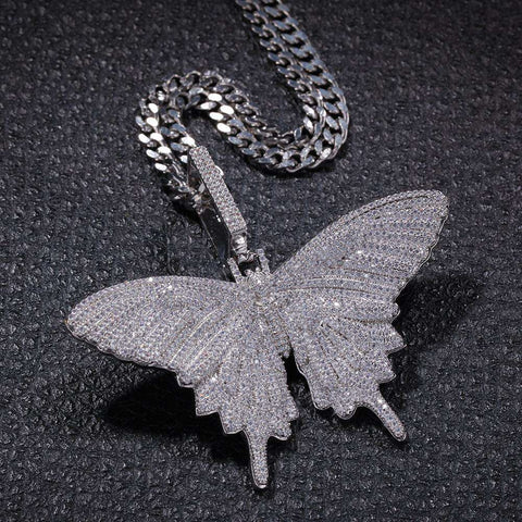 18K White Gold Finish Iced Butterfly Pendant