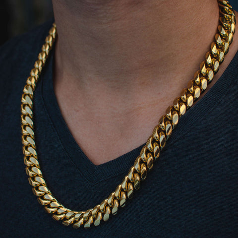 12mm 18K Gold PVD Plated Finish Iced Cuban Link