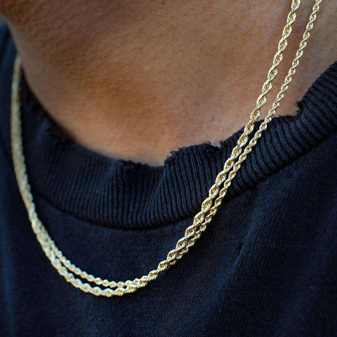 3mm 18K Gold Finish S925 Silver 2 Rope Chain Set