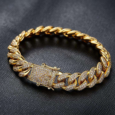 12mm 18K Gold Finish Iced Cuban Bracelet