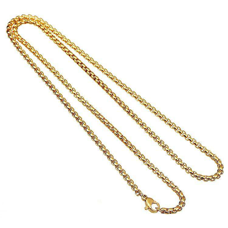 5mm 18K Gold Finish S925 Silver Round Box Chain
