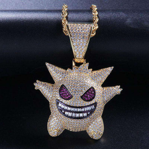 18K Gold Finish Iced Gengar Pendant
