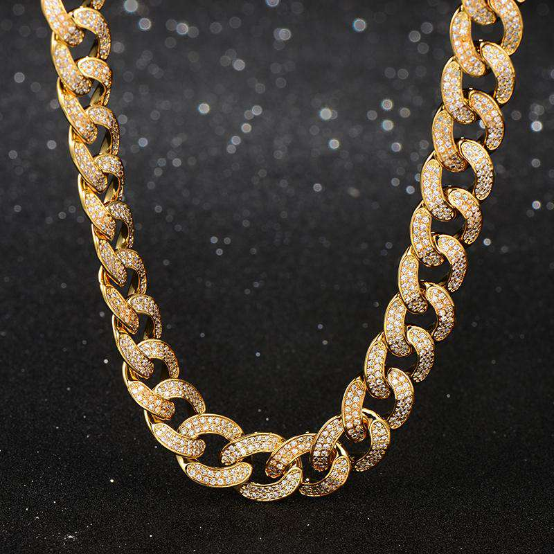 13mm 2019 New 18K Yellow Gold Finish Diamond Cuban Link