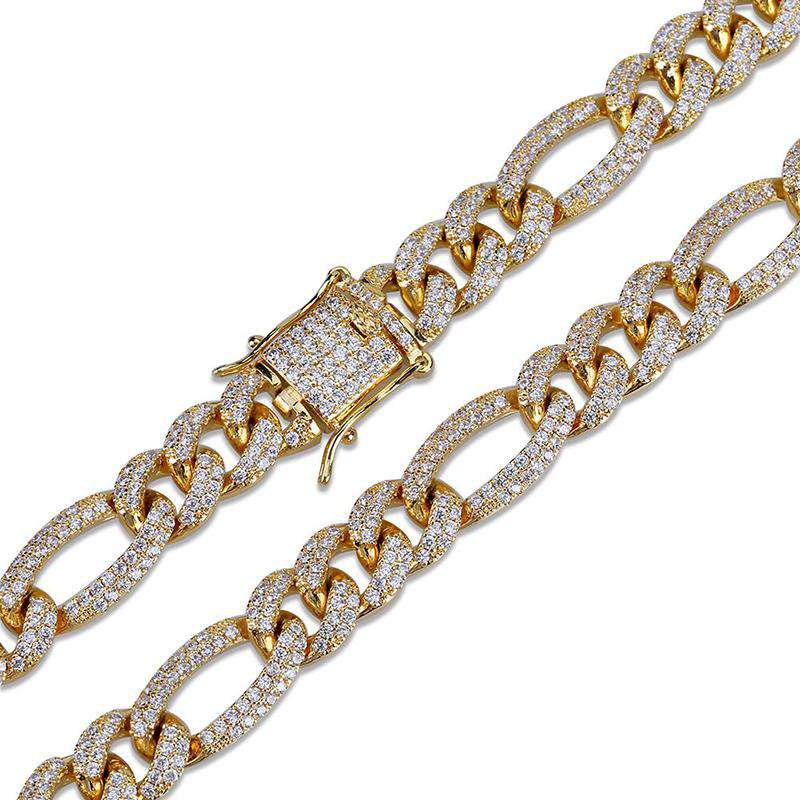10mm 18K Gold Finish Iced Figaro Chain