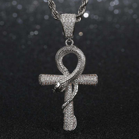 18K White Gold Ankh Ouroboros Cross