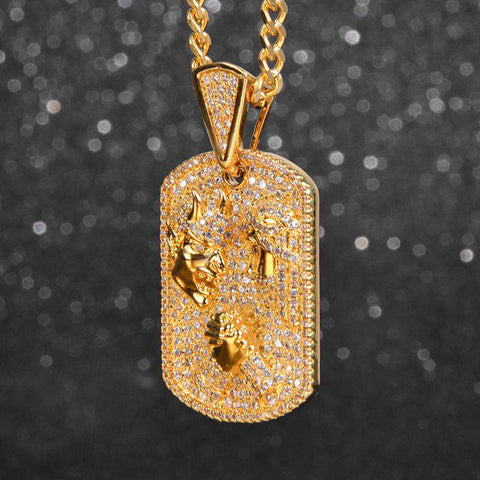 18K  yellow gold S925 Silver jesus and santa fight pendant