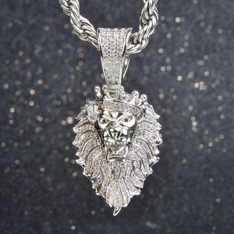 18K White Gold Finish S925 Silver Lion Pendant
