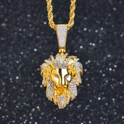 18K Yellow Gold Iced  lion Pendant