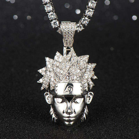 18K White Gold Finish S925 Silver Naruto Pendant